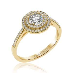 טבעת זהב משובצת זירקונים