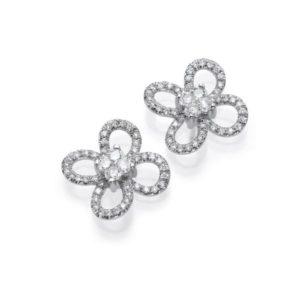 עגילי פרחים יהלומים