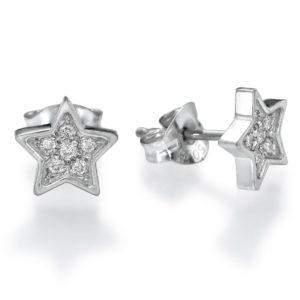 עגילי כוכב יהלומים צמודים