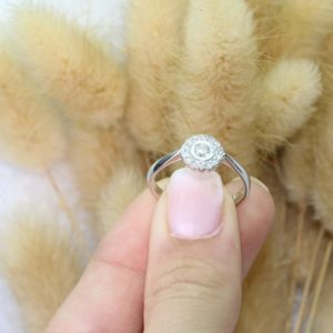 טבעת פרח יהלומים 0.24 קראט