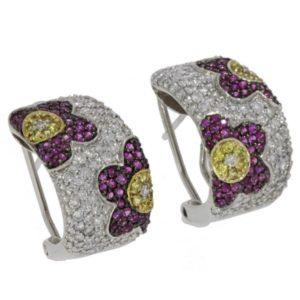 עגילי יהלומים פרחים צבעוניים 1.45
