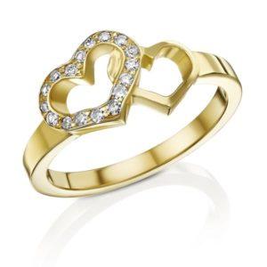 טבעות לבבות יהלומים
