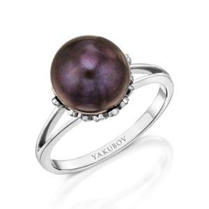 """טבעת יהלומים משובצת פנינה"""""""""""