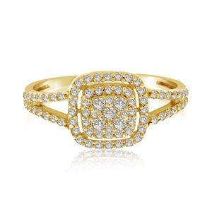 טבעת זהב 14 קראט משובצת בזירקונים