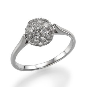 טבעת כדור פאווה יהלומים
