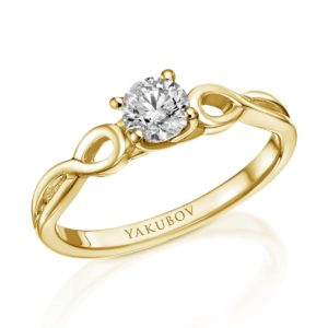 טבעת אירוסין טוויסט יהלום 0.38