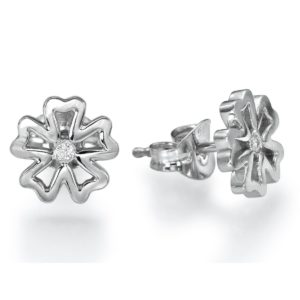 עגילי פרח יהלומים צמודים