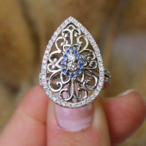 טבעת יהלומים בשילוב אבני ספיר