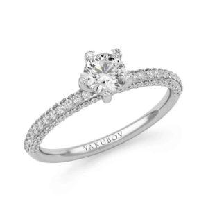 טבעת סוליטר משובצת יהלומים 0.40